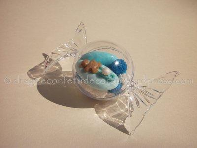 confetti decorati in astuccio a forma di caramella per nascita o battesimo