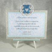 Targhetta con orsetto versione azzurro - regalo bomboniera madrina padrino Battesimo