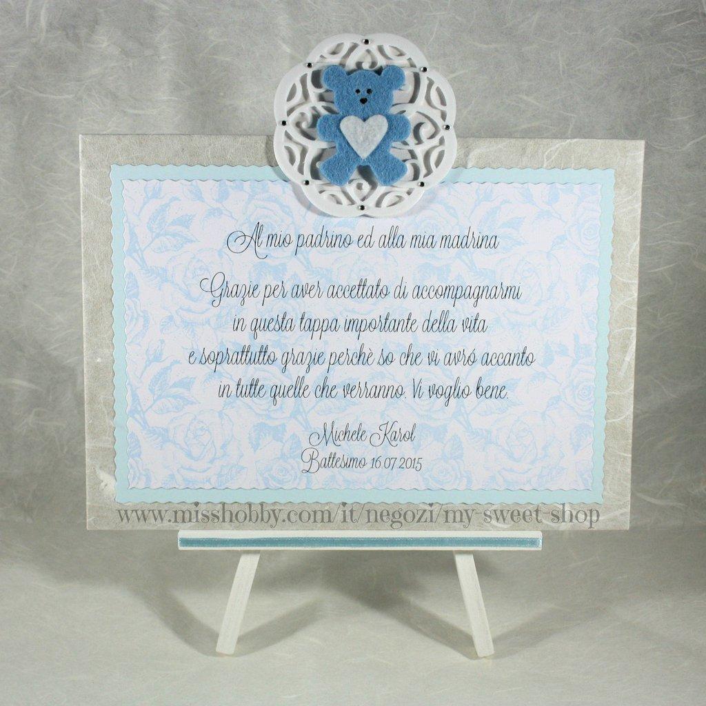 Preferenza Targhetta con orsetto versione azzurro - regalo bomboniera madrina  MC84