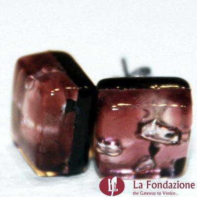 Cubo Macchia Rosso - Orecchini in vetro di Murano fatti a mano
