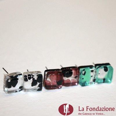 Set 3 Orecchini Cubo Macchia in vetro di Murano fatti a mano