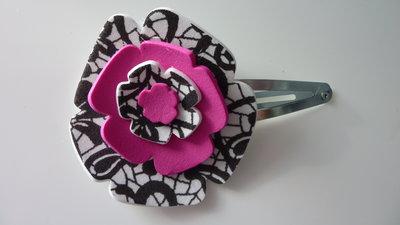 Mollettina per capelli con fiore in gomma crepla colorato