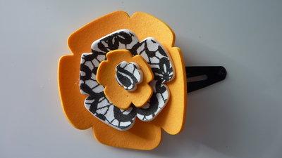Mollettina per capelli con fiore in gomma crepla