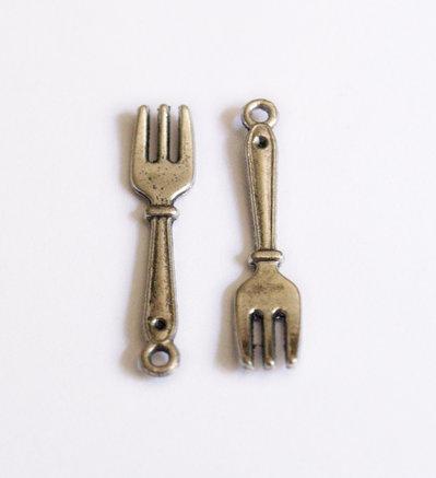 1 x charm argentato forchetta in miniatura