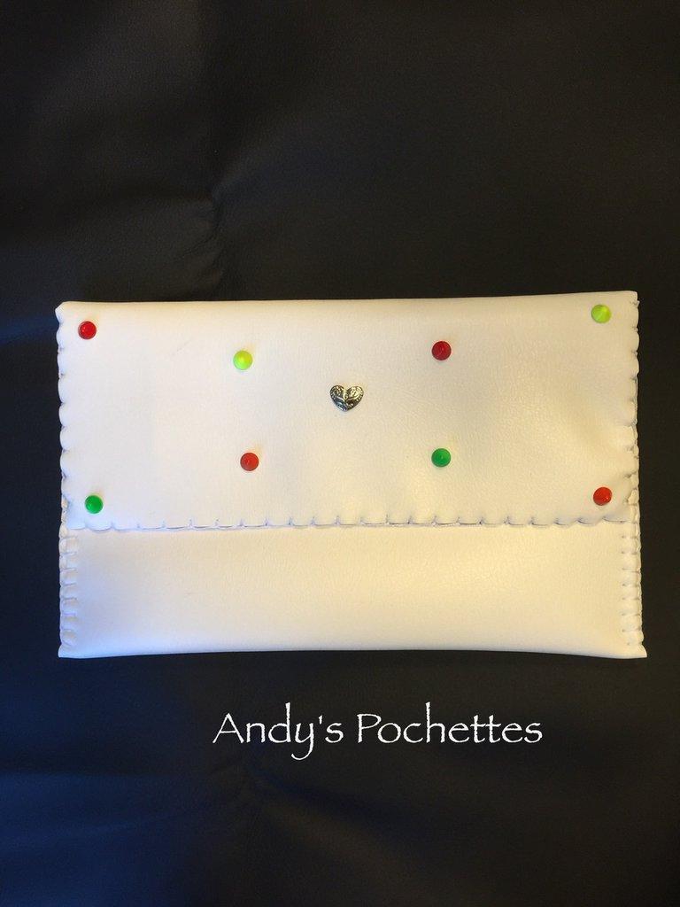 Pochette in ecopelle bianca