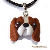Collana con ciondolo cane cavalier king charles spaniel creato a mano in fimo