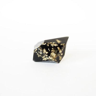 ANELLO in RESINA DIAMANTE nero e foglia oro con base in argento 925