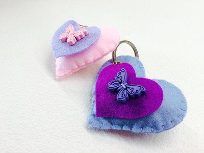 Portachiavi cuore farfalla