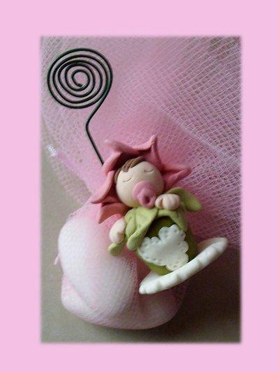 Bomboniera bimbo nel vaso di fiori- Portafoto-memo