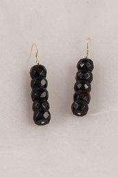 Orecchini in onice nero sfaccettato fatti a mano - earrings black onyx faceted handmade.