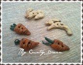 "Bottoni Artigianali ""Bunny & Carrots"""