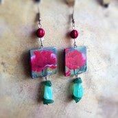 Orecchini pendenti in carta fiori e perle