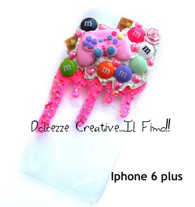 Cover IPhone 6/6s PLUS Gamer, caramelle, cioccolato, pastel goth, glassa, rosa, joistick, joystick, waffle