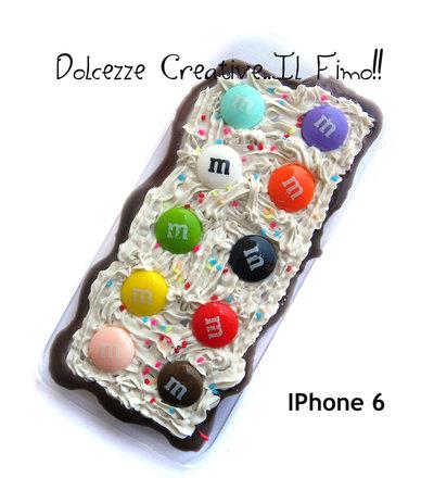 Cover Iphone 6/6s - Panna, cioccolato, glassa, caramelle, cioccolatini ,confetti di cioccolato ricoperti di glassa colorata