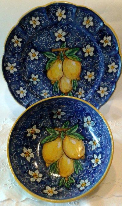 Set Piatto + Ciotola decorato a mano.Decorazione Limoni