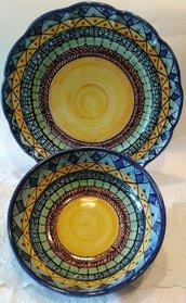 Set Piatto + Ciotola decorato a mano.Decorazione Etnica
