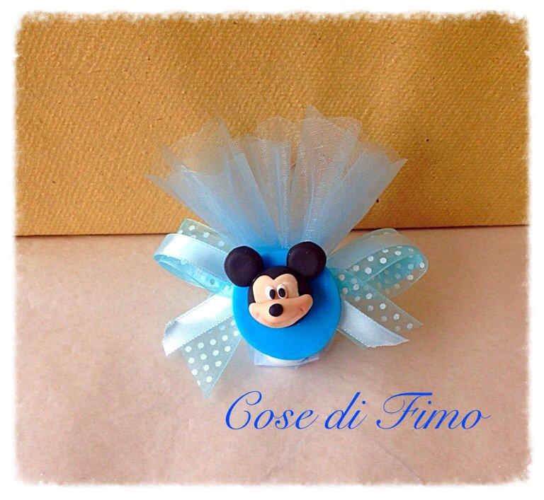 Bomboniera Nascita battesimo o compleanno mickey mouse topolino in fimo