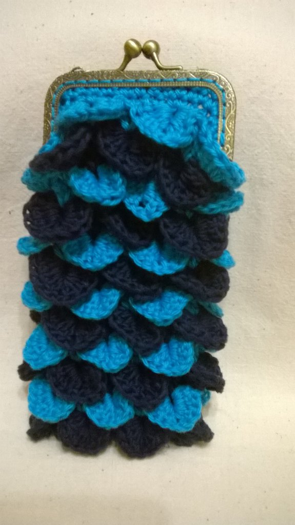 bustina porta occhiali blu e turchese