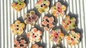 10 bottoni legno fiore stampati 15x15mm