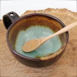 Tazza per colazione, caffelatte e thè, con foro portacucchiaio