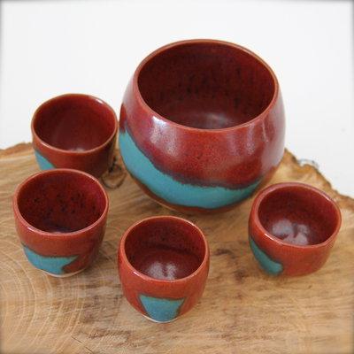 Set per Sake o liquore: bicchierini e portabiscotti