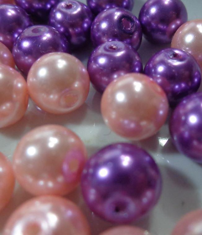 42 Perle color Viola e Rosa Cipria