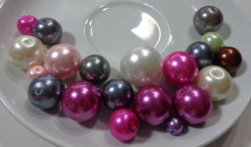 20 Perle Vetro Smaltato Mix di Colori