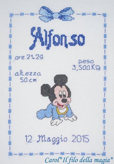 Quadretto nascita - fiocco nascita - BABY TOPOLINO GATTONI -punto croce- B58