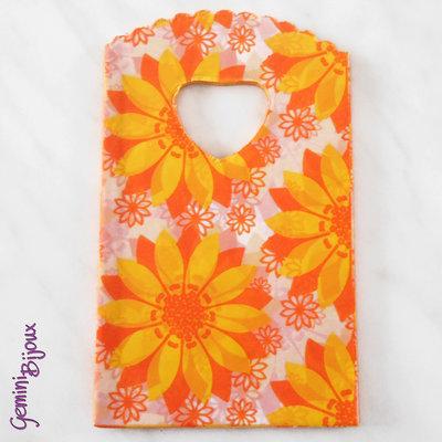 Lotto 10 mini-shopper plastica cm. 14x9 fiori arancio
