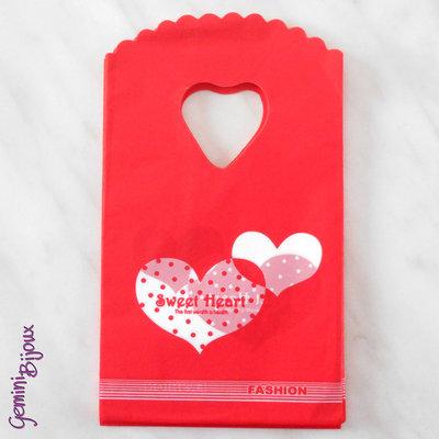 Lotto 10 mini-shopper plastica cm. 14x9 rosso sweet heart