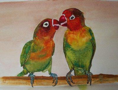 Uccelli pappagalli acquerello su carta, dipinto originale
