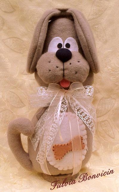 fermaporta cane Tobia alto cm. 35 in tessuto fatto a mano