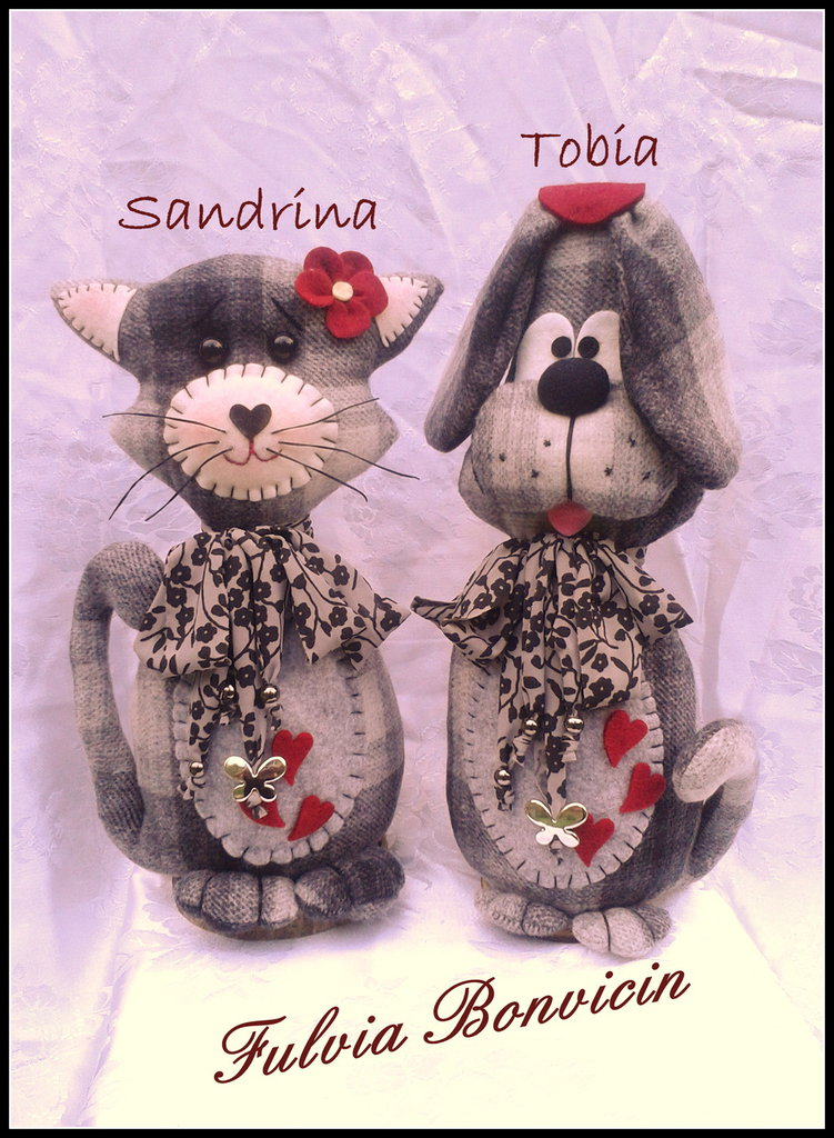 cartamodello tutorial con spiegazioni del cane Tobia e della gattina Sandrina