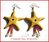 """Orecchini Estivi """"Stella marina Oro rosso""""  Estate 2015 fimo cernit kawaii idea regalo"""