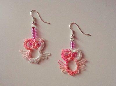 Simpatici orecchini gufetto, rosa sfumato