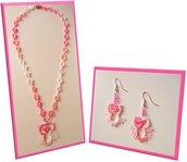 Collana e orecchini gufetti, rosa sfumato