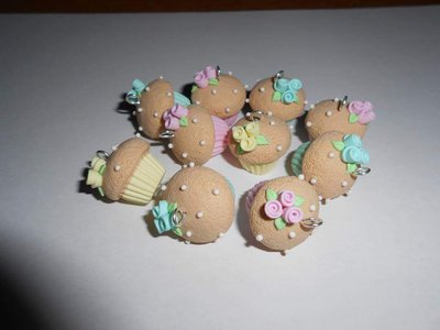 Charms cupcake con roselline