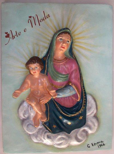 "Bassorilievo restaurato ""Madonna e Gesù bambino"""