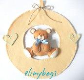 Fiocco nascita azzurro di feltro con orsetto 3d fatto a mano♥