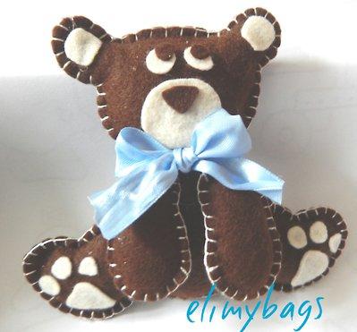 Orso bruno 3D in feltro per bambino fatto a mano♥