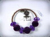 Bracciale Semirigido con perle a foro largo viola e perline in bronzo fatto a mano