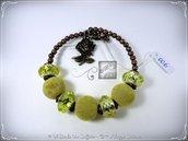Bracciale Semirigido con perle a foro largo giallo e perline in bronzo fatto a mano