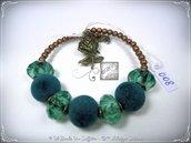 Bracciale Semirigido con perle a foro largo petrolio e perline in bronzo fatto a mano