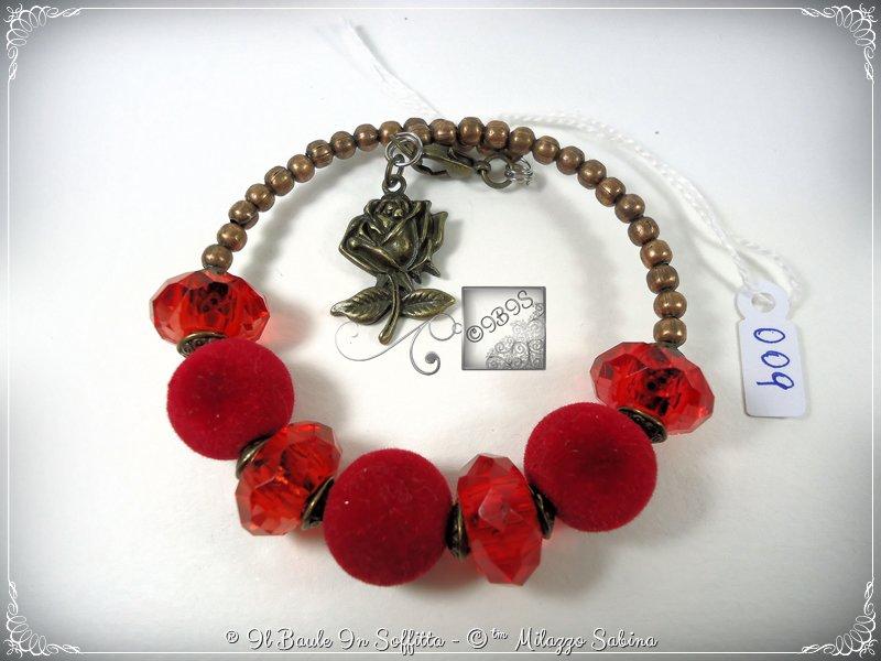 Bracciale Semirigido con perle a foro largo rosso e perline in bronzo fatto a mano
