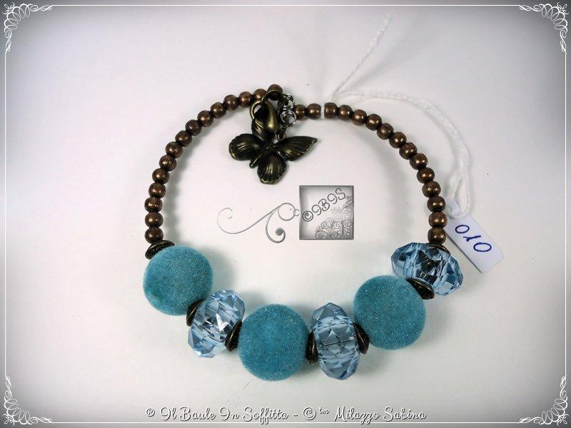 Bracciale Semirigido con perle a foro largo azzurro e perline in bronzo fatto a mano