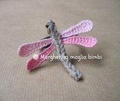 Elastico per capelli con libellula  in cotone fatta a mano all'uncinetto
