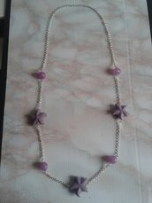 collana lunga stellata viola e lilla