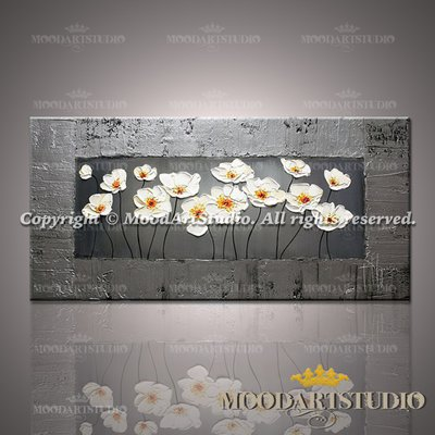 Quadro di Papaveri in rilievo con cornice in argento dipinto a mano