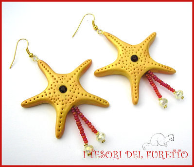"""Orecchini Estivi """"Stella marina Oro strass Rosso"""" Estate 2015 fimo cernit kawaii idea regalo per lei donna"""