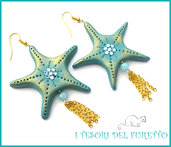 """Orecchini Estivi """"Stella marina Azzurro oro"""" Estate 2015 fimo cernit kawaii idea regalo per lei donna"""